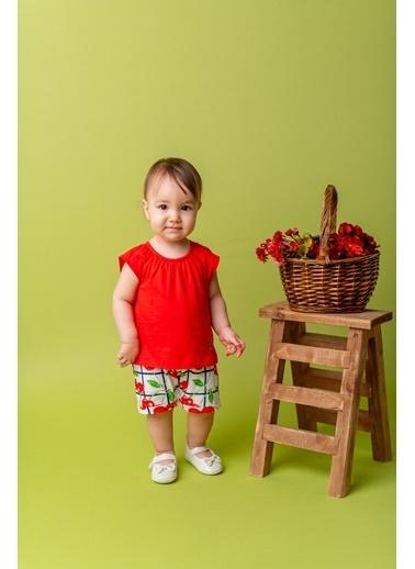 Mininio Kırmızı Desenli şortlu Tulum (3-18ay) Kırmızı Desenli şortlu Tulum (3-18ay) Kırmızı